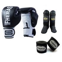 Kit Boxe Muay Thai Fheras New Orion Luva+Band+Caneleira Free Preto 010 -