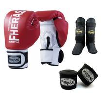 Kit Boxe Muay Thai Fheras New Orion Luva+Band+Caneleira Free Vermelho 010 -