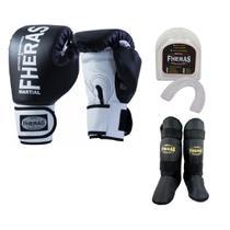 Kit Boxe Muay Thai Fheras New Orion Luva+Bucal+Caneleira Free Preto 008 -