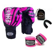 Kit Boxe Muay Thai Fheras New Top  Luva + Bandagem Elite Rosa 007 -