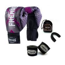 Kit Boxe Muay Thai Fheras New Top  Luva + Bandagem  Iron Rosa 005 -