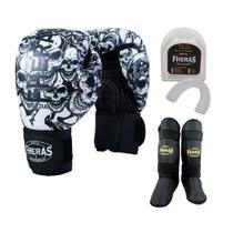 Kit Boxe Muay Thai Fheras New Top Luva+Bucal+Caneleira Free Caveira 008 -