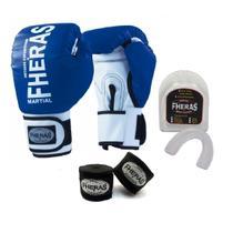 Kit Boxe Muay Thai Fheras New Trade Luva + Bandagem Orion Azul 004 -