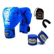 Kit Boxe Muay Thai Fheras New Trade  Luva + Bandagem Trade Azul 007 -