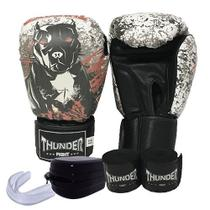 kit Boxe / Muay Thai / Kickboxing - luva 14 oz pit bull + bandagem + protetor bucal - Thunder Fight -