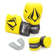 Kit Boxe Muay Thai Luva 12oz + Protetor Bucal + Bandagem 3m - Amarelo - Best Defense
