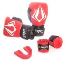 Kit Boxe Muay Thai Luva 12oz + Protetor Bucal + Bandagem 3m - Vermelho - Best Defense