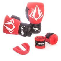 Kit Boxe Muay Thai Luva 14oz + Protetor Bucal + Bandagem 3m - Vermelho - Best Defense