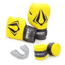 Kit Boxe Muay Thai Luva 16oz + Protetor Bucal + Bandagem 3m - Amarelo - Best Defense