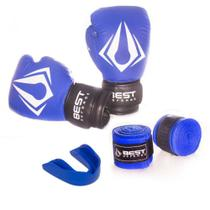 Kit Boxe Muay Thai Luva 16oz + Protetor Bucal + Bandagem 3m - Azul - Best Defense