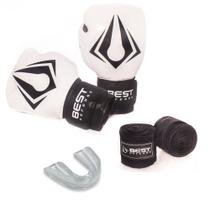 Kit Boxe Muay Thai Luva 16oz + Protetor Bucal + Bandagem 3m - Branco - Best Defense