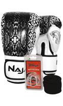 Kit Boxe Muay Thai - Luva Animal Print Cobra Pérola + Bandagem (2,30 metros) Preta + Protetor Bucal - Naja