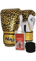 Kit Boxe Muay Thai - Luva Animal Print Onça Ouro + Bandagem (2,30 metros) Preta + Protetor Bucal Sim - Naja