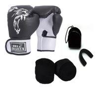 Kit Boxe Muay Thai Luva Bandagem Bucal Brazuca Preta 12oz - MMA BRAZUCA