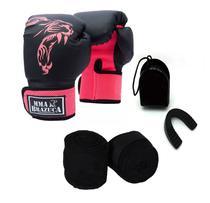 Kit Boxe Muay Thai Luva Bandagem Bucal Brazuca - Rosa 10oz - Mma Brazuca