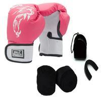 Kit Boxe Muay Thai Luva Bandagem Bucal Brazuca Rosa 8oz - Mma Brazuca