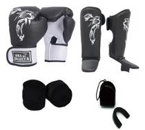 Kit Boxe Muay Thai Luva Caneleira Bandagem Bucal Brazuca Preta 12oz - Mma Brazuca