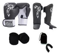 Kit Boxe Muay Thai Luva Caneleira Bandagem Bucal Brazuca Preta 14oz - Mma Brazuca