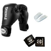 Kit Boxe Muay Thai Luva Combate Fheras + Bandagem + Protetor Bucal -