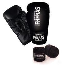 Kit Boxe Muay Thai Luva Fheras Bandagem 3m -