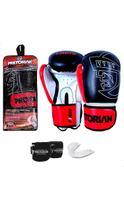 Kit Boxe Muay Thai - Luva First + Bandagem + Protetor Bucal - Pretorian -