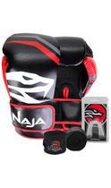 Kit Boxe Muay Thai - Luva First Preta + Bandagem Preta (2,30 metros) + Protetor Bucal Simples Transp - Naja