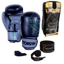 Kit Boxe Muay Thai - Luva First Preto e Cinza + Bandagem (2.80 metros) + Protetor Bucal - Pretorian 12oz -