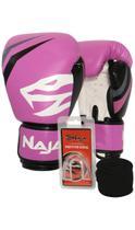 Kit Boxe Muay Thai - Luva First Rosa + Bandagem Preta (2,30 metros) + Protetor Bucal Simples Transpa - Naja