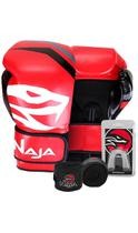 Kit Boxe Muay Thai - Luva First Vermelha + Bandagem Preta (2,30 metros) + Protetor Bucal Simples Tra - Naja