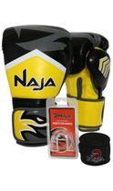 Kit Boxe Muay Thai - Luva New Extreme Amarela + Bandagem (2,30 metros) Preta + Protetor Bucal Simple - Naja