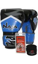 Kit Boxe Muay Thai - Luva New Extreme Azul Marinho + Bandagem (2,30 metros) Preta + Protetor Bucal S - Naja