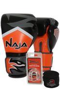 Kit Boxe Muay Thai - Luva New Extreme Laranja + Bandagem (2,30 metros) Preta + Protetor Bucal Simple - Naja