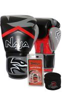 Kit Boxe Muay Thai - Luva New Extreme Preta + Bandagem (2,30 metros) Preta + Protetor Bucal Simples - Naja