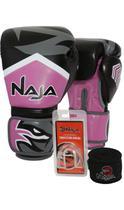 Kit Boxe Muay Thai - Luva New Extreme Rosa + Bandagem (2,30 metros) Preta + Protetor Bucal Simples T - Naja