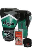 Kit Boxe Muay Thai - Luva New Extreme Verde + Bandagem (2,30 metros) Preta + Protetor Bucal Simples - Naja