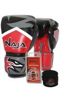 Kit Boxe Muay Thai - Luva New Extreme Vermelha + Bandagem (2,30 metros) Preta + Protetor Bucal Simpl - Naja