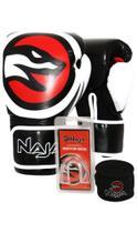 Kit Boxe Muay Thai - Luva OPP Preta + Banda30 metros) Preta + Protetor Bucal Simples Transpar - Naja -