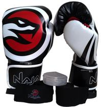 Kit Boxe Muay Thai Naja Luvas 12 Oz Bandagens Protetor Bucal Com Estojo -