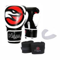 Kit Boxe Muay Thai Naja OPP Luva 14 OZ Preta + Bandagem + Protetor Bucal -