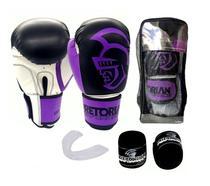 Kit Boxe Muay Thai Performance Luva Bandagem Bucal Pretorian Roxo -