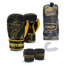 Kit Boxe Muay Thai Pretorian Core Luva 14 OZ Preta e Amarela + Bandagem + Protetor Bucal -