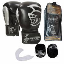 Kit Boxe Muay Thai Pretorian Elite Luva 12 OZ Preta e Prata + Bandagem + Protetor Bucal -