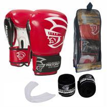 Kit Boxe Muay Thai Pretorian Elite Luva 14 OZ Vermelha e Preta + Bandagem + Protetor Bucal -
