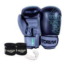 Kit Boxe Muay Thai Pretorian First Luva 14 OZ Preta e Cinza + Bandagem + Protetor Bucal -