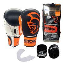 Kit Boxe Muay Thai Pretorian Performance Luva 12 OZ Laranja e Preta + Bandagem + Protetor Bucal -