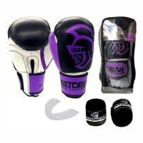 Kit Boxe Muay Thai Pretorian Performance Luva 12 OZ Roxa e Preta + Bandagem + Protetor Bucal -