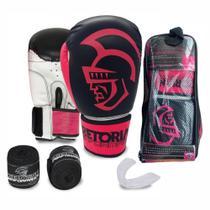 Kit Boxe Muay Thai Pretorian Performance Luva 14 OZ Rosa e Preta + Bandagem + Protetor Bucal -