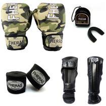 fe5808f2f Kit Boxe Muay Thai Top - Luva Caneleira Bandagem Bucal - Cumuflado