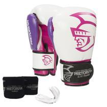 Kit Boxe Pretorian Elite - Luva Bucal e Bandagem - Branco e Rosa -