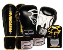 Kit Boxe Pretorian Luva + Protetor Canela + Band + Bucal - 12oz Preto - Pretorian Fight